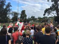 Santa getting mobbed at Berowra Oval