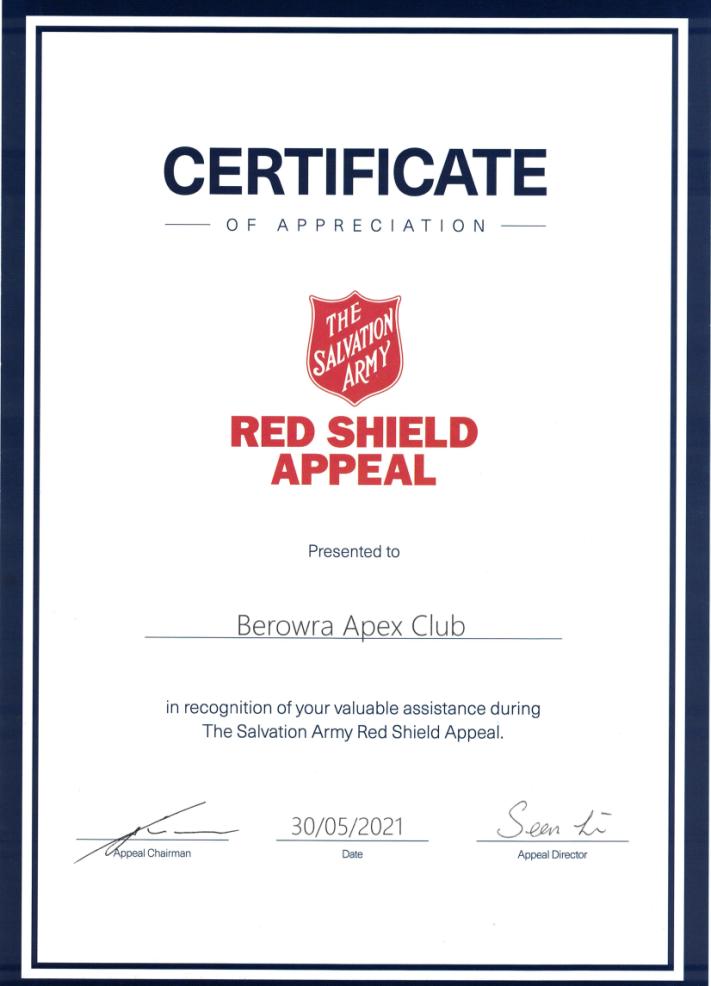 Apex Red Cross Certificate of Appreciation